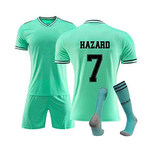 HS-JCWY01 Real Madrid Club De Fútbol # 7 Eden Hazard-Fußball-T-Shirt für Männer und Frauen-Fans Jersey Kurzarm Stretch atmungsaktiv Trainingsanzug,M170~175CM -