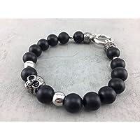 Armband Ringverschluß matt schwarz Onyx Skull Perlen Damen u. Herren Männer Totenkopf A_2