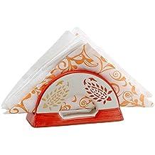 Fall Clearance Sale - Ceramic Napkin Holder 5 Inch - SouvNear Orange & Red Napkin Holder - Decorative Retro Centrepiece Napkin Paper Organizer - 50 % OFF by SouvNear