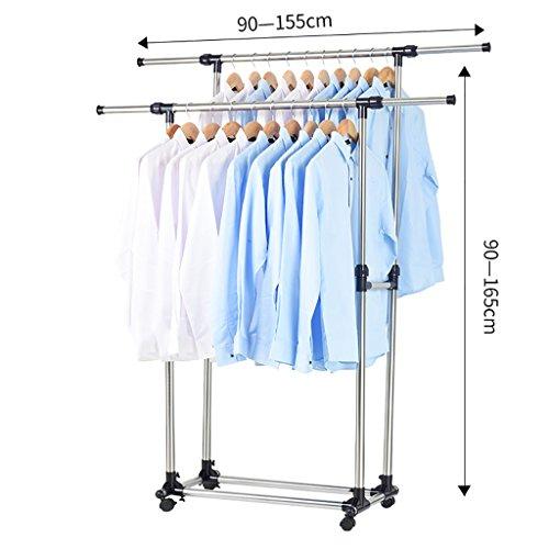Edelstahl-Wäscheständer Boden Doppelstange Racks Indoor-Aufhänger Balkon Wäscheständer ( Farbe : B )