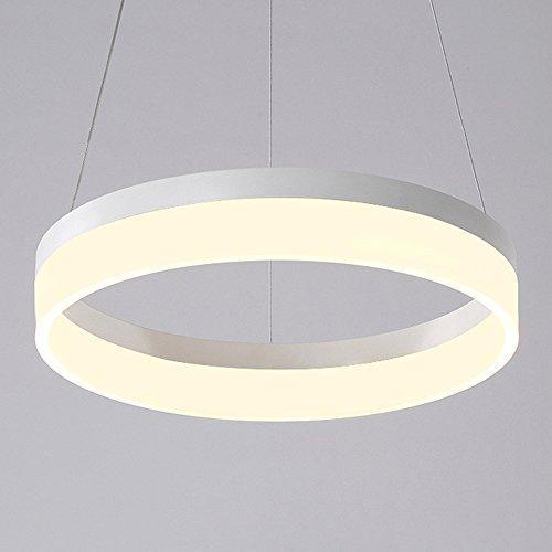 Wanson Pendelleuchte Modern Kronleuchter Schlafzimmer Restaurant Anhänger Beleuchtung LED Ringleuchte Leuchten Acryl Licht Durchmesser 40Cm 23W Weiße Lampe (Deckenventilator Rustikale Geweih)