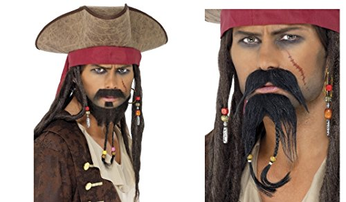 2pc Pirate Hat and Facial Hair Set Brown Adult Fancy Dress Accessory Kit Jack Sparrow Pirates of Caribbean Buccaneer (Jack Hats Sparrow)