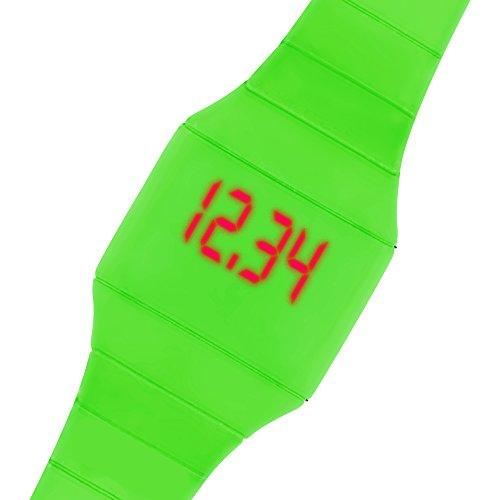 Taffstyle Armbanduhr Touchscreen Digitale Sportuhr Silikonuhr mit LED Damen Herren Digital Sport Silikon Uhr Grün
