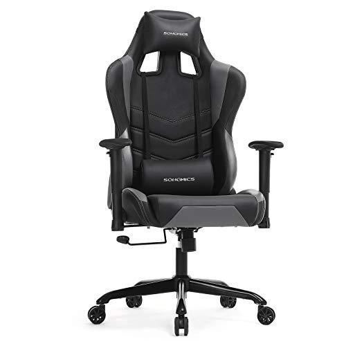 SONGMICS Gamingstuhl, höhenverstellbarer Racing Chair, Schreibtischstuhl mit Kopfstütze und Lendenkissen, 2D Armlehnen, Wippfunktion, 150 Grad Neigungswinkel, Kunstleder, schwarz-grau RCG12BG