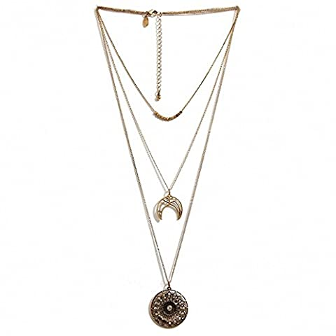 Multilayer Vintage Alloy Gold Plated Hollow CZ Round Flower Curved Moon Pendant Necklaces for Women by SRX