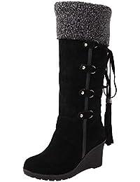 Logobeing Botines Mujer Planos Tacon Zapatos de Mujer Después de Lijar con Borlas Botas Altas Mangas Cuñas Botas de Nieve Zapatos de Plataforma