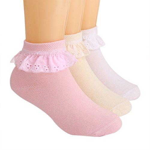 LOSORN ZPY 3 Paar Spitze Söckchen Kinder Mädchen Princess Socken