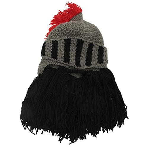Original Männlichen Camping Klettern Quaste Römischen Ritter Strickhelm männer Caps Handgemachte Winter Warme Bart Lustige Hüte Black One Size