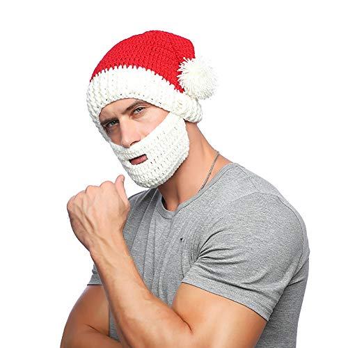 Hilai 1PC Perücke Bart Hüte Handgemachte Knit warme Winter-Kappe Weihnachten Mützen Lustige Maske Beanie für Mann-Frauen-Red Hat & White ()