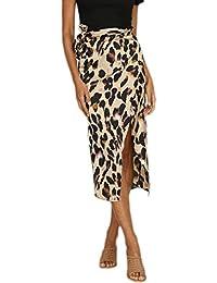 71816ef1d8 Faldas de Verano Moda para Mujer Sexy Leopardo Impreso Dividido Vendaje  Fiesta de Noche Falda