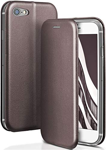 ONEFLOW Apple iPhone 7/8 | Hülle Anthrazit-Grau mit Karten-Fach 360° Business Klapp-Hülle Handytasche Kunst-Leder Handyhülle für iPhone 7/8 Flip Case Cover Tasche Schutzhülle