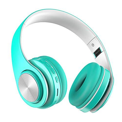 Auriculares Bluetooth Inalámbricos con Micrófono, Auriculares con Cable Plegable Headphones con HiFi Sonido Estéreo y Deep Bass, Cascos Bluetooth Compatible con Móviles,Tabletas MeihuaTu-Menta Verde
