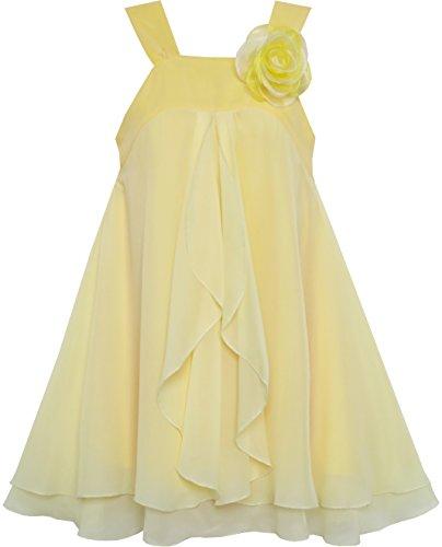Sunboree Mädchen Kleid Ärmellos Halfter Blume Multi Schicht Chiffon Gr.134