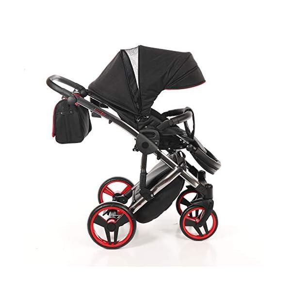 Baby PRAM Pushchair Set JUNAMA Diamond S-LINE BABYWAGEN Buggy BABYSCHALE + ZUBEHÖR (01 Rot-Schwarz, 3in1) JUNAMA Lockable swivel wheels Light alluminium chassis 2 separate modules - baby tub, sport seat 4