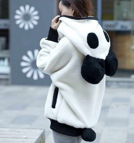 GGTFA Femmes Décontracté, Chaleureux, Décontracté Panda Animal Polaire Zip À Travers Sweat-Shirt À Capuche Outwear Blanc