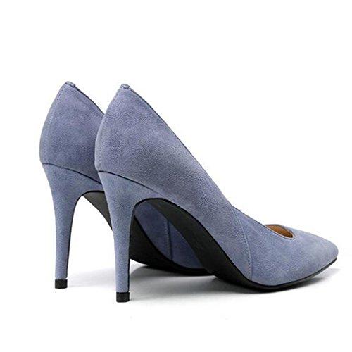 W&LM Pattino in pelle donna Pelle scamosciata Poca bocca in bocca Scarpe squisite Tacchi alti Scarpe singole Blue
