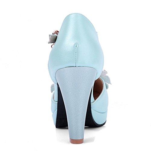 TAOFFEN Femme Elegant Sangle de Cheville Boucle Fleur Perle Bloc Talons Hauts Sandales Bleu