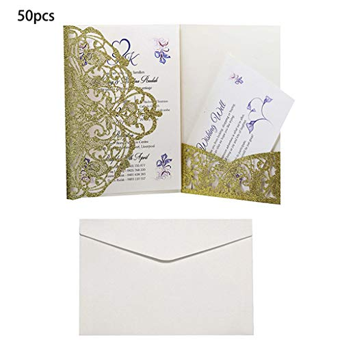 FifijuanC 50 Hochzeitseinladungskarten mit Umschlägen, lasergeschnitten, Geburtstagskarte, Hochzeit, Dekoration, Partys, Postkarten, Einladungen, BGD, 5