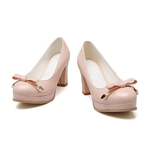 VogueZone009 Femme à Talon Haut Pu Cuir Couleur Unie Tire Rond Chaussures Légeres Rose