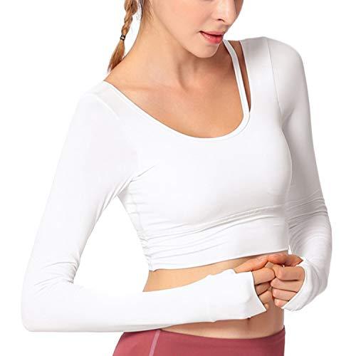 Activewear-crop Hose (Jalas Damen Offener Rücken Workout Yoga Crop Top Shirts Integrierter Gepolsterter BH Lange Ärmel, Damen, weiß, Large)