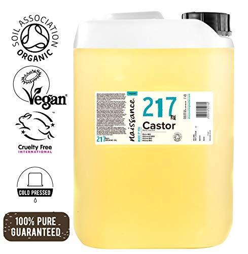 Naissance Rizinusöl BIO (Nr. 217) 5 Liter (5000ml) - kaltgepresst, rein, natürlich, BIO zertifiziert, vegan, hexanfrei, gentechnikfrei - pflegt Haare, Wimpern und Augenbrauen