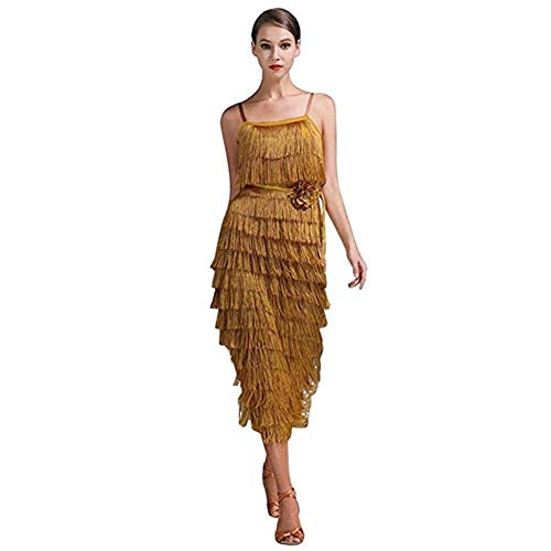 Kostüm Latin Tanz Show - Latin Dance Strap Tassel Kleid, Sexy Neckholder Show Kostüm Nach Nationalem Standard (Color : Turmeric, Size : M)