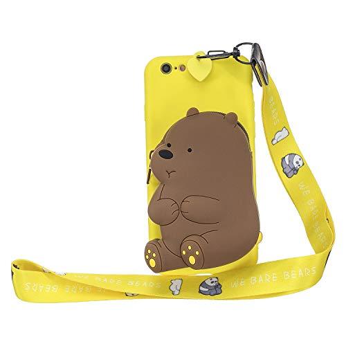 Miagon Silikon Hülle für iPhone 6S / 6,3D Süß Brieftasche Lager Tasche Design mit Halskette Kordel Schnur Handykette Necklace Band,Gelb Bär