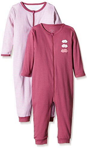 NAME IT Baby-Mädchen Schlafstrampler NITNIGHTSUIT ZIP M G NOOS, 2er Pack, Gr. 104, Mehrfarbig (Red Violet) (Schlafanzug Kids Für)