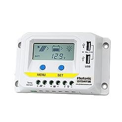 10A 12V/24V Solar Charge controller/regolatore con display LCD e Advanced Control features per pannelli solari fino a 160W (camper, roulotte, camper e barca)