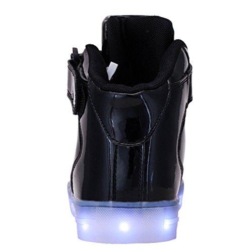 tuluo Kid e uomo e donna USB carica LED 7 Colori High Top Sneakers Luce Scarpe MetallicBlack
