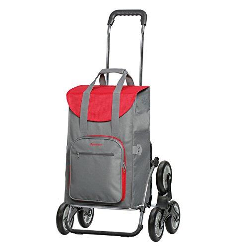 Andersen Einkaufstrolley Royal als Treppensteiger und 45 Liter Einkaufstasche Wismar Grau/Rot mit Kühlfach Einkaufswagen Stahlgestell klappbar