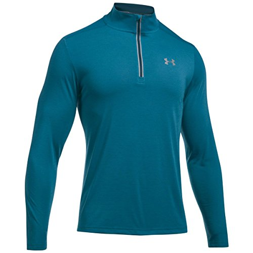 Under Armour - maglia da running per uomo, manica lunga, zip 1/4, Uomo, Bayou Blue/ True Ink/ Reflective, XXXL