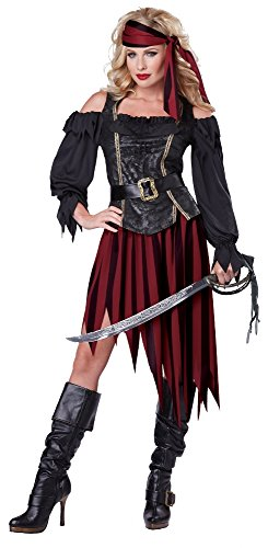 Generique - Weinrotes Piraten-Kostüm für Damen XL - Pirate Queen Für Erwachsene Kostüm
