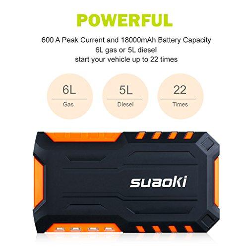 Suaoki G7   Jump Starter 18000mAh  600A arrancador emergencia para coche (vehículo de gas o diesel con bateria 12V  linterna LED  USB puertos 12V/16V/19V cargador batería externa)