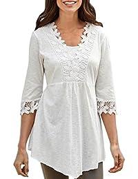 Fossen Camisetas Mujer Blusas Mujer Tallas Grandes EN Ofertas Blusas de Mujer Elegantes con Encaje de