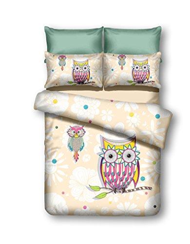 135x200 cm Bettwäsche Kinderbettwäsche mit 1 Kissenbezug 80x80 Eule Eulen Bettwäscheset Bettbezüge Microfaser Bettwäschegarnituren Reißverschluss Owls Collection Summer Story creme weiß rosa gelb blau
