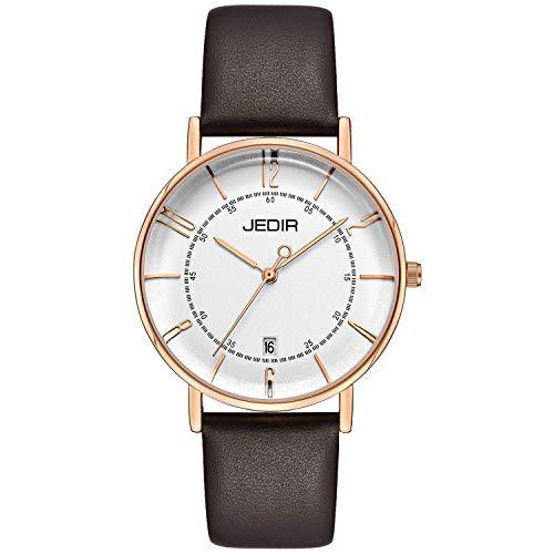 JEDIR Damen Einfache Uhren Thin Analog Quarzuhr Big Face Arabisch Zahlen Kalender Rotgold Gehäuse Braun Lederband