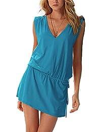 ERGEOB® Kurzes Luftiges Damen Sommerkleid mit tiefem V-Ausschnitt - Rückenfreies Freizeitkleid Ideal als Bikini Cover Up, Strand, Urlaub, Pool, Meer, See, Sommernächte, Party.
