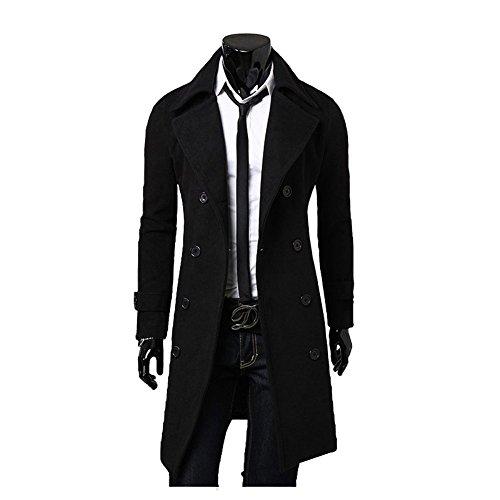 YYF Herrenmantel Lang Herbst Winterjacke Slim Fit warm Mantel Trenchcoat Outfit Schwarz 52/L