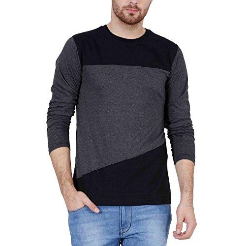 Fashion Freak Full Sleeve T Shirt For Men Cross Pattern Style Grey Black Colour (FF008) (M - 38)