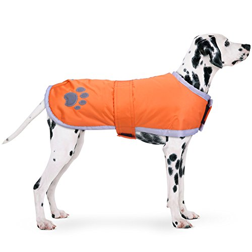 PETBABA Abrigo Perro, Chaqueta Impermeable Lana Caliente Invierno, Chaleco Reflectante Reversible en Día Nieve Frío Naranja