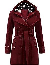 FuweiEncore Top de Chaqueta de Abrigo para Mujer (Color   Vino Rojo 362be7b04688
