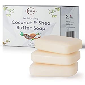 O Naturals 3 Piece Moisturizing Organic Coconut Oil, Shea Butter Bar Soaps. Softens & Nourishes Dry Skin. Face, Hands & Body Wash. Made in USA. Triple Milled, Vegan. 4 Ounce Each
