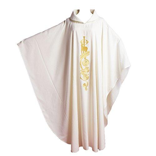 BLESSUME Chasuble Kirche Lamm Gestickter Priester Gewänder Roll Kragen Weiß
