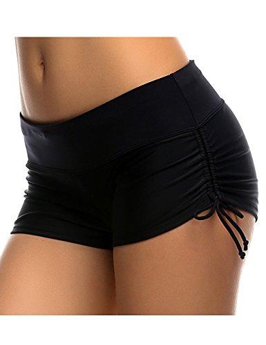 Badeshorts Damen UV Schutz Schwarz Wassersport Schwimmen Bikinihose Schwimmshorts M