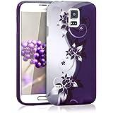 kwmobile Funda para Samsung Galaxy S5 / S5 Neo / S5 LTE+ / S5 Duos - Case para móvil en TPU silicona - Cover trasero Diseño flores Yin y Yang en blanco violeta