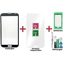 iTG PREMIUM Pantalla de cristal kit de reparación para Samsung Galaxy Note 2 en Gris Titanio - Panel frontal táctil para N7100 N7105 LTE + Protector en vidrio templado, 3M Adhesivo Pre-corte y de 7-Piezas Juego de herramientas