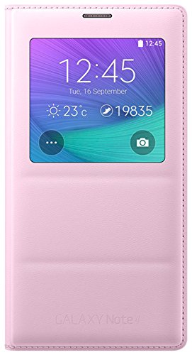 Samsung S-View Schutzhülle Case Cover mit Sichtfenster in Stepp-Optik für Samsung Galaxy Note 4 - Zartrosa (Samsung Case Mini 4)