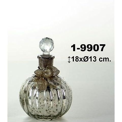 DonRegaloWeb - Botella de cristal redonda decorada con tapón tipo bola y lazo con flor estilo metalizada en color
