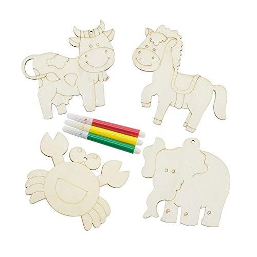 Set 12 piezas madera animales colorear. Incluye rotuladores